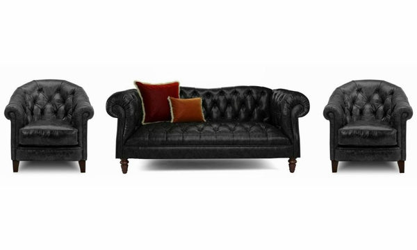 Palace art leather sofa Leather Sofa Sofa Set Online Bangalore Black 3+1+1