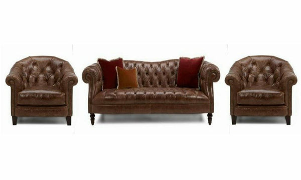 Palace art leather sofa Leather Sofa Sofa Set Online Bangalore Brown 3+1+1