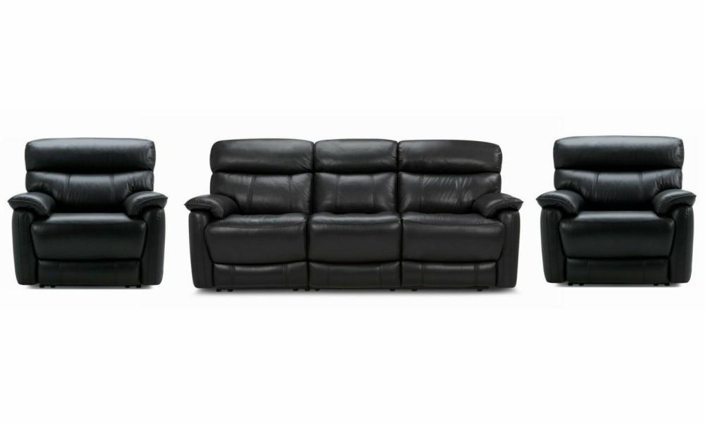 Pryme manual recliner Leather Recliner Sofa Set Online Bangalore Black 3+1+1