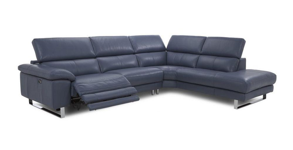 Salone L Shape 5 Seater Genuine Leather Recliner Genuine Leather Recliner Sofa Set Online Bangalore L Shape Blue