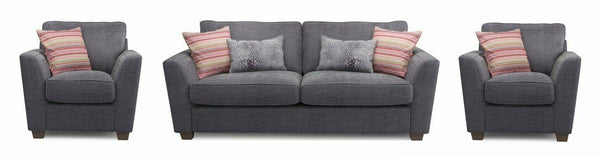Sophia fabric sofa set Fabric Sofas Sofa Set Online Bangalore Dark Ash 3+1+1