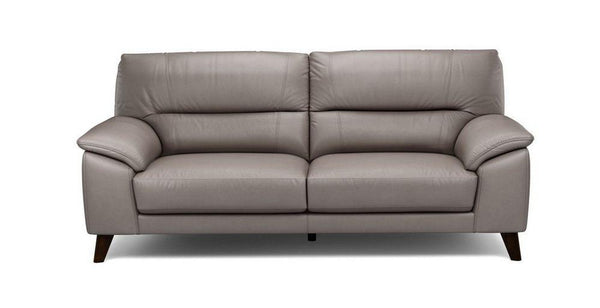 Three seater genuine leather sofa Genuine Leather Sofa Sofa Set Online Bangalore Lite grey 3 Seater