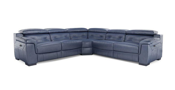 Torino 5 Seater L Shape Genuine Leather Recliner Genuine Leather Recliner Sofa Set Online Bangalore L Shape Blue