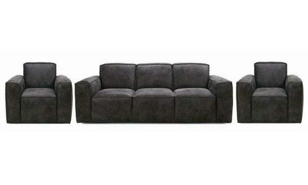 Viera in grey art leather sofa Leather Sofa Sofa Set Online Bangalore 3+1+1