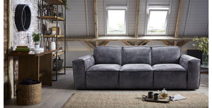 Viera in grey art leather sofa Leather Sofa Sofa Set Online Bangalore