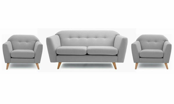 Waverly fabric sofa set Fabric Sofas Sofa Set Online Bangalore Steel grey 3+1+1