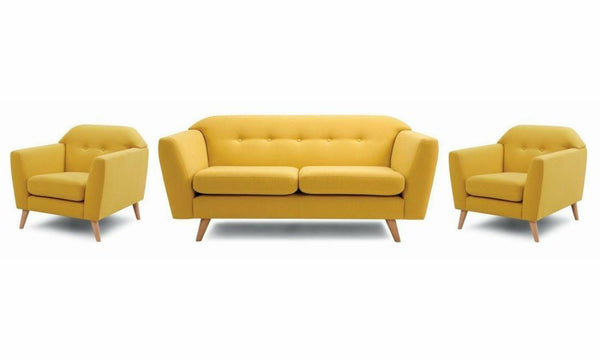 Waverly fabric sofa set Fabric Sofas Sofa Set Online Bangalore Yellow 3+1+1