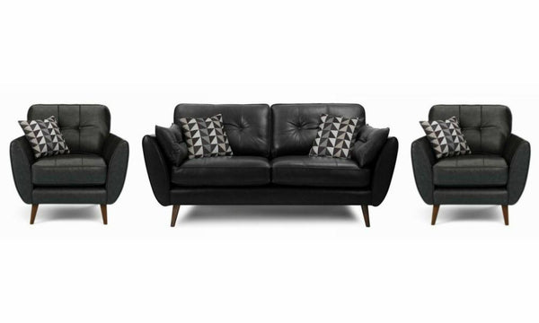 Zinc leather leather sofa set Leather Sofa Sofa Set Online Bangalore Black 3+1+1