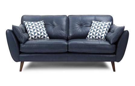 Zinc leather leather sofa set Leather Sofa Sofa Set Online Bangalore Blue 3 Seater