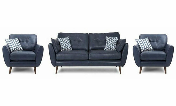 Zinc leather leather sofa set Leather Sofa Sofa Set Online Bangalore Blue 3+1+1