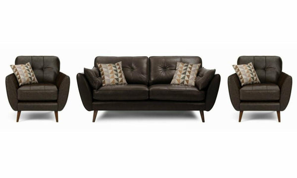Zinc leather leather sofa set Leather Sofa Sofa Set Online Bangalore Chocolate 3+1+1