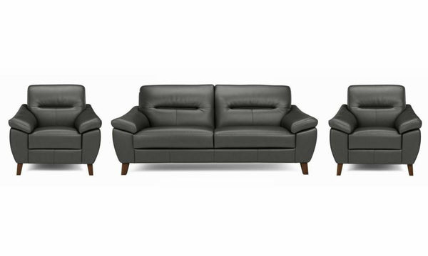 Zyan genuine leather sofa set Genuine Leather Sofa Sofa Set Online Bangalore DGrey 3+1+1