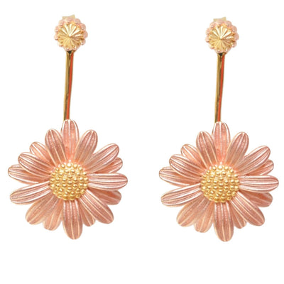 Pink Daisy - behind the ear - Earrings