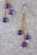 Load image into Gallery viewer, Amethyst long dangle drop Linear earrings