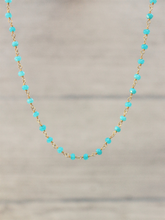 Load image into Gallery viewer, Apatite_Rosary_style_beaded_necklace_for_women_Unique_blue_neon_choker_gift_for_her