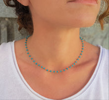 Load image into Gallery viewer, Apatite_Rosary_style_beaded_necklace_for_women_Unique_blue_neon_choker_gift_for_her_woren