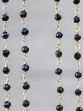 Load image into Gallery viewer, Dainty black onyx rosary beaded necklace