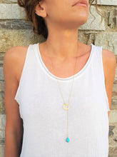 Load image into Gallery viewer, Eternity Karma Long Necklace with natural Turquoise teardrop