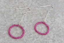Load image into Gallery viewer, Fuchsia_ruby_long_dangle_earrings_for_women_silver