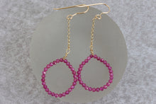 Load image into Gallery viewer, Fuchsia_ruby_long_dangle_earrings_for_women_gold