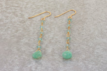 Load image into Gallery viewer, Long_line_dangle_earrings_aquamarine_gold