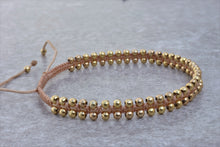 Load image into Gallery viewer, Macrame_beaded_beize_gold_bracelet