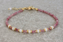 Load image into Gallery viewer, Natural pink Tourmaline beaded bracelet with freshwater pearls