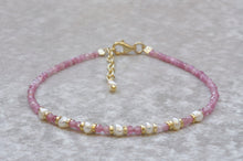 Load image into Gallery viewer, Pink_tourmaline_beaded_bracelet_with_pearls_Gift_for_her