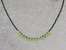 Load image into Gallery viewer, Statement_black_spinel_beaded_necklace_peridot
