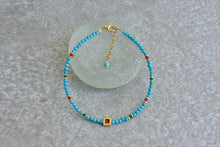 Load image into Gallery viewer, Turquoise beaded bracelet with Green Jade beads