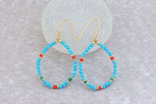 Load image into Gallery viewer, Turquoise_beaded_hoop_earrings