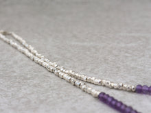 Load image into Gallery viewer, Amethyst beaded necklace with karen hill tribe beads