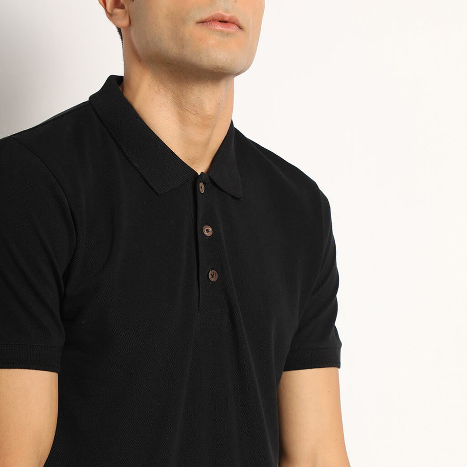 Load image into Gallery viewer, black polo tshirt