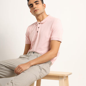 organic pink polo for men