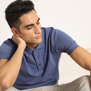 Slate blue organic polo t-shirt