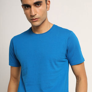 Round neck mens tee in blue