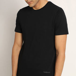 bare black crew neck organic cotton t-shirt for men