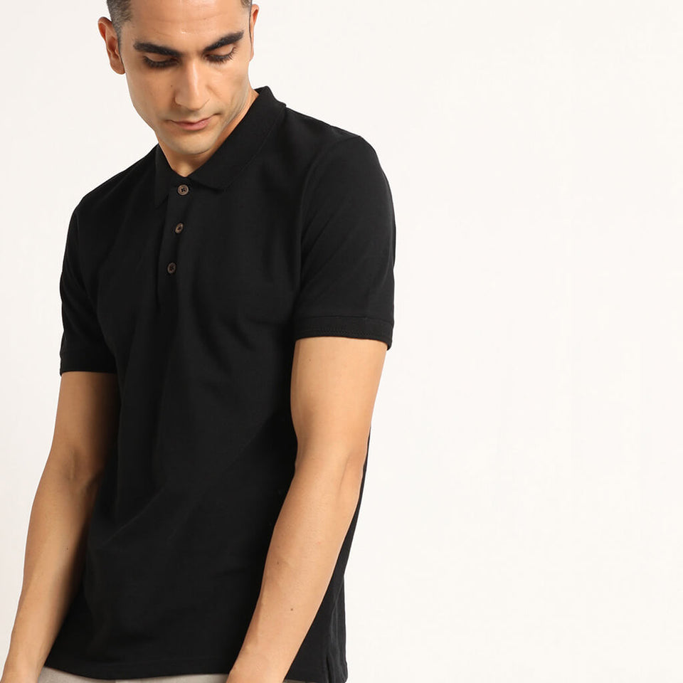 Load image into Gallery viewer, Polo tshirts for men in black
