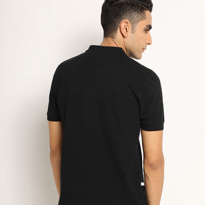 Black organic polo for men