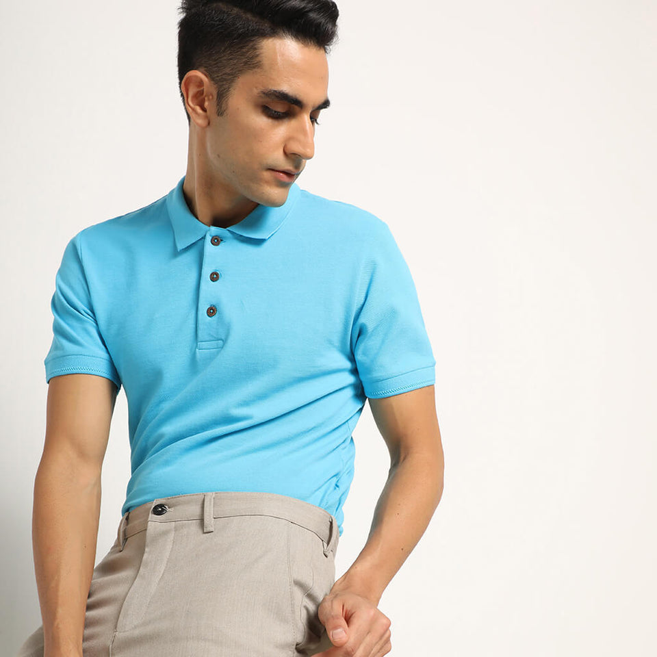 Load image into Gallery viewer, Twilight Turquoise Organic Polo T-shirt