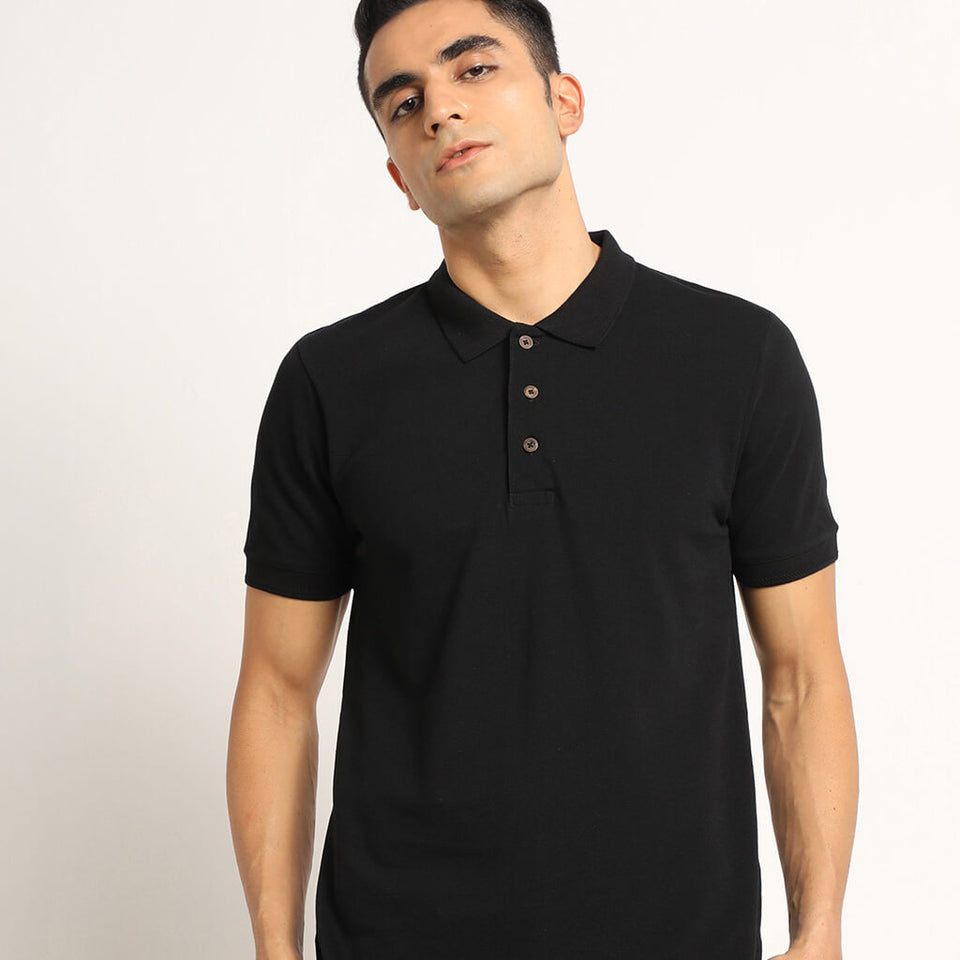 Load image into Gallery viewer, Black organic polo tshirt