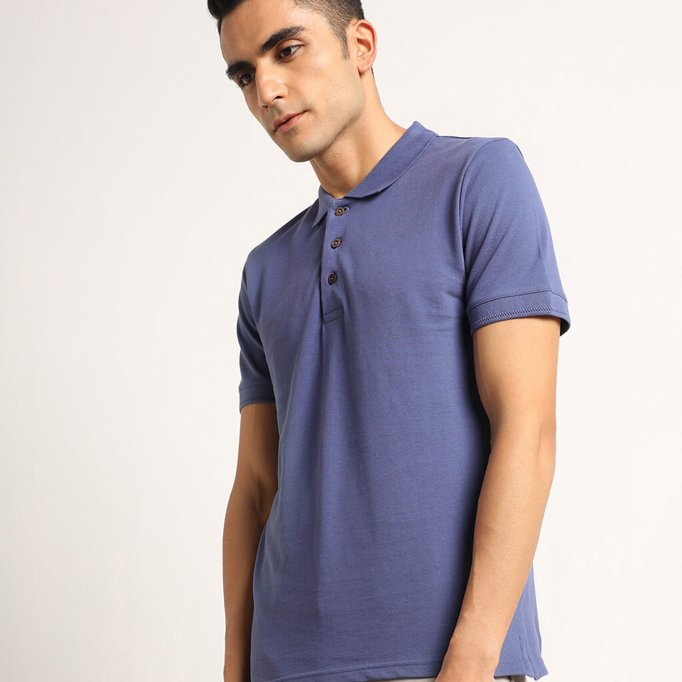 Load image into Gallery viewer, Blue mens polo