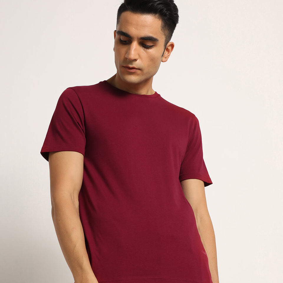Load image into Gallery viewer, Maroon mens organic round neck