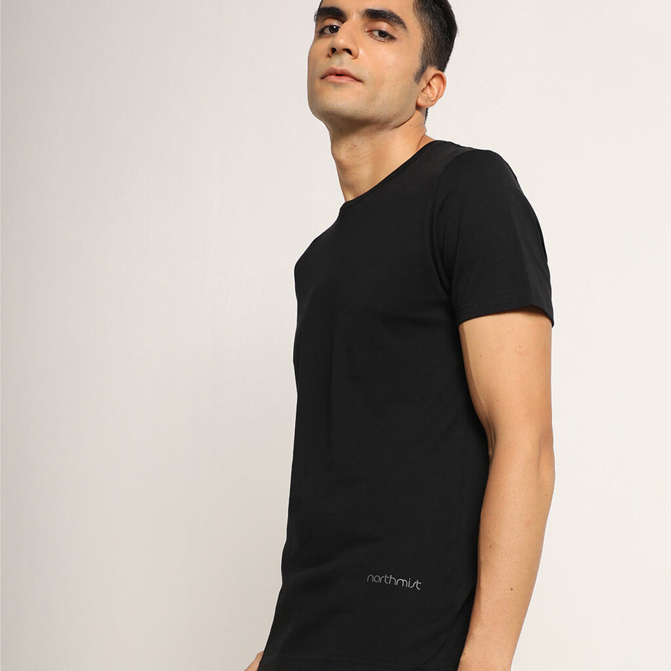 Load image into Gallery viewer, Black round neck tshirt for men