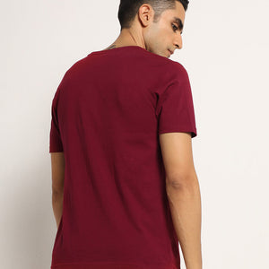 Mens round neck in maroon
