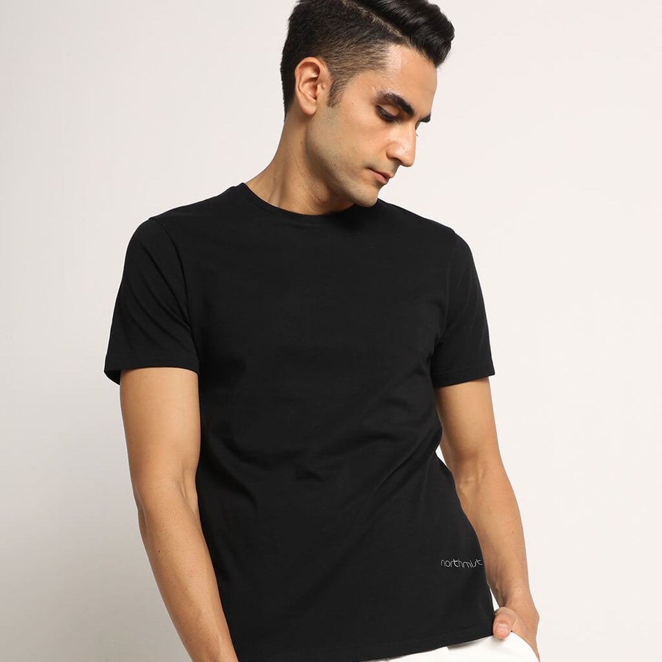 Load image into Gallery viewer, bare black crew neck organic cotton t-shirt for men