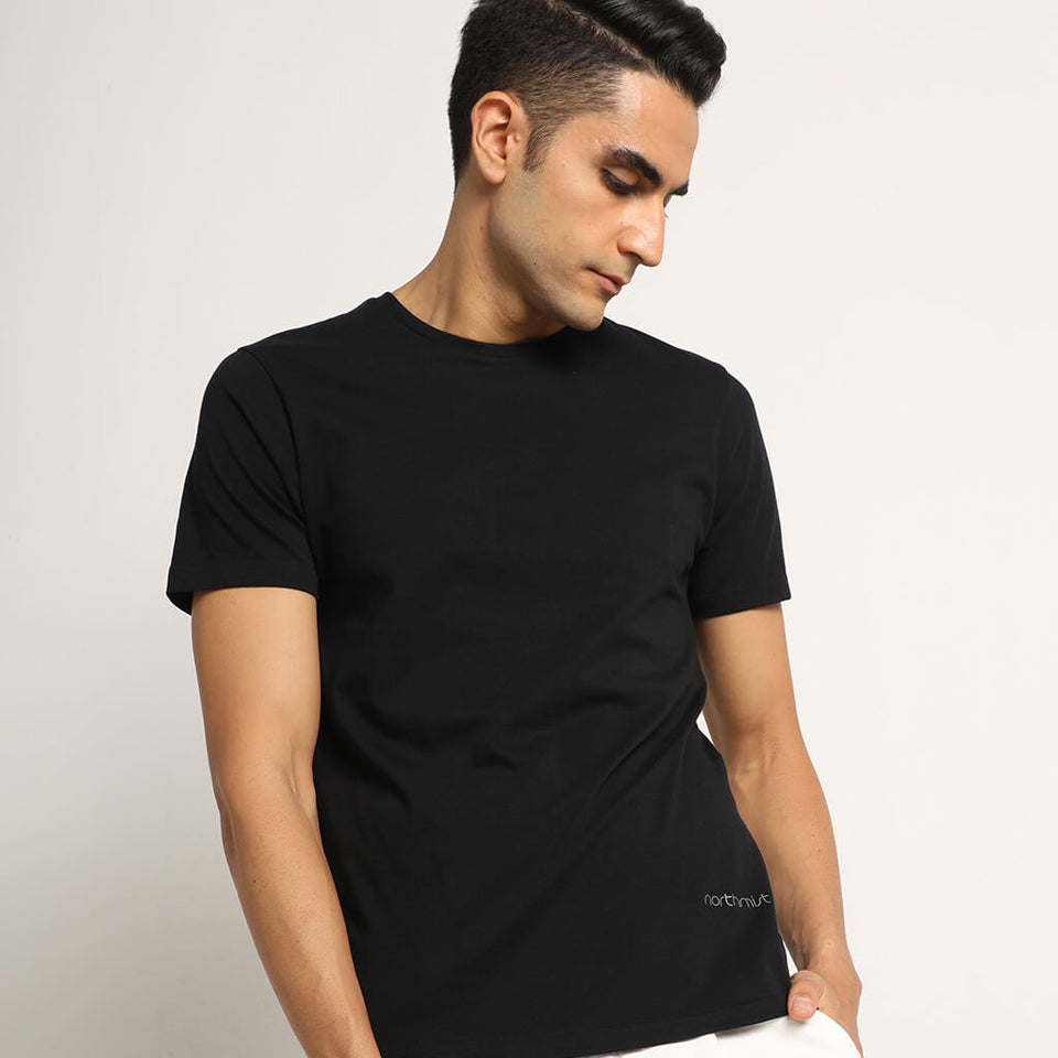 Load image into Gallery viewer, black crew neck t-shirt