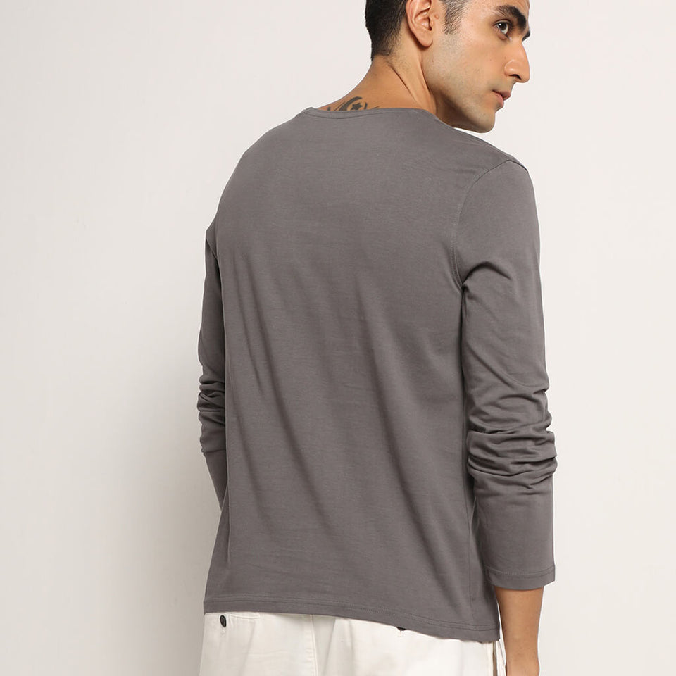 Load image into Gallery viewer, Organic grey full sleeve t shirt