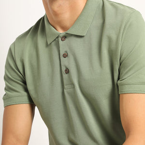 Organic polo in green for men