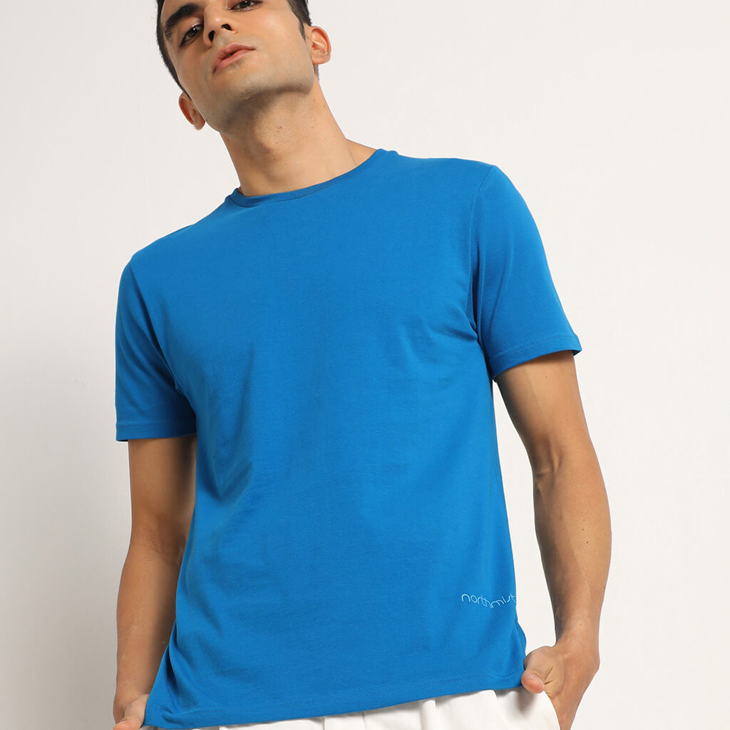 Blue organic crew for men